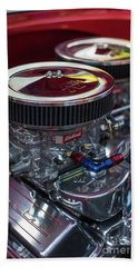 Edelbrock And Chevy Hand Towel by Mike Reid