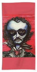 Hand Towel featuring the painting Edgar Alien Poe by Similar Alien