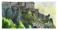 Edinburgh Castle From Princes Street Hand Towel