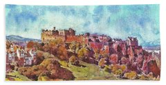 Hand Towel featuring the painting Edinburgh Skyline No 1 by Richard James Digance