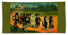 Bath Towel featuring the painting Edwardian Cat Wedding Day Celebration March by Peter Gumaer Ogden