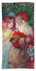 Edwardian Christmas Card Of Father Christmas With An Angel Hand Towel