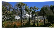 Edwardian Glasshouse With Duck Pond And Cabbage Trees.  Bath Towel