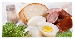 Eggs And Sausage Traditional Easter Food Bath Towel