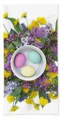 Hand Towel featuring the digital art Eggs In A Bowl by Lise Winne