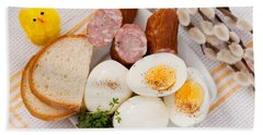 Eggs With Bread And Sausage Easter Food  Bath Towel
