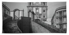 Egreja Da Mesericordia And The Gateway To Angra Do Heroismo In Black And White Bath Towel