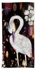 Hand Towel featuring the drawing Egret 16-01d by Maria Urso