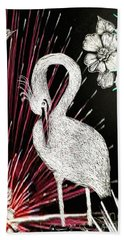 Hand Towel featuring the drawing Egret 16-02d by Maria Urso