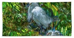 Egret And Chicks Bath Towel