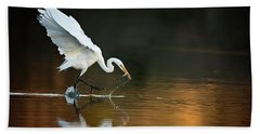 Egret At Sunset Hand Towel