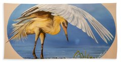 Flying Lamb Productions                  Egret Fishing Bath Towel
