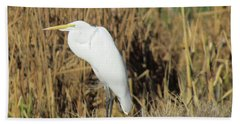 Egret In Grass Hand Towel by Bonnie Muir