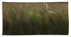 Egret In Swamp-1-0711 Bath Towel