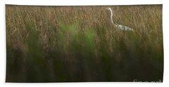Egret In Swamp-2-0711 Bath Towel