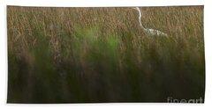 Egret In Swamp-3-0711 Bath Towel