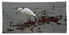 Egret On Seaweed Raft Hand Towel