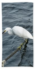 Egret On The Munch Hand Towel by Margie Avellino