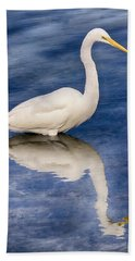 Egret Reflection On Blue Hand Towel