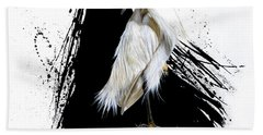 Hand Towel featuring the painting Egret by Sandi Baker
