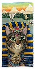 Egyptian Pharaoh Cat - King Of Pentacles Hand Towel