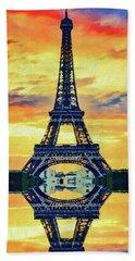 Bath Towel featuring the painting Eifel Tower In Paris by PixBreak Art