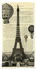 Eiffel Tower And Hot Air Balloons Hand Towel