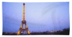 Eiffel Tower At Dusk Van Gogh Style Hand Towel