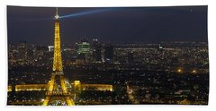 Eiffel Tower At Night Bath Towel by Sebastian Musial
