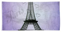 Eiffel Tower Collage Purple Hand Towel by Jim And Emily Bush