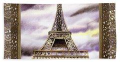 Bath Towel featuring the painting Eiffel Tower Laces Iv  by Irina Sztukowski