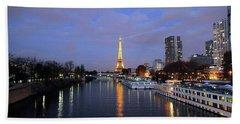 Eiffel Tower Over The Seine Hand Towel
