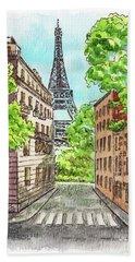 Hand Towel featuring the painting Eiffel Tower Summer Paris Day by Irina Sztukowski