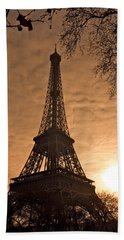 Eiffel Tower Sunset Bath Towel