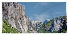 El Capitan, Three Brothers And Half Dome Bath Towel