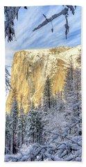 El Capitan Winter Majesty Yosemite National Park Bath Towel