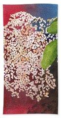 Elderberry Blossom In Watercolor Bath Towel