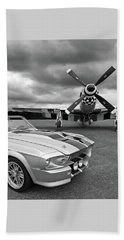 Eleanor Mustang With P51 Black And White Bath Towel