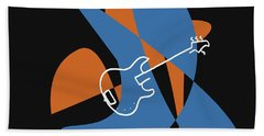 Electric Bass In Blue Hand Towel by David Bridburg