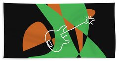 Electric Bass In Green Hand Towel by David Bridburg