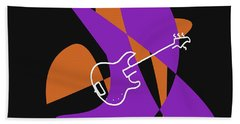 Electric Bass In Purple Hand Towel by David Bridburg