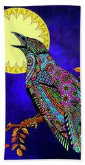 Electric Crow Bath Towel by Tammy Wetzel