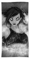 Electric Glitch - Black And White Fantasy Art Bath Towel