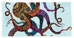 Electric Octopus - Customizable Background Bath Towel by Tammy Wetzel