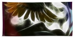 Bath Towel featuring the photograph Electric Sunflower by EricaMaxine  Price
