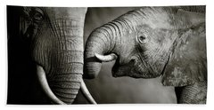 Elephant Affection Hand Towel