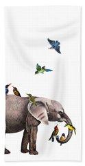 Elephant With Birds Illustration Bath Towel