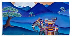 Bath Towel featuring the painting Elephant And Monkey Stroll by Lori Miller