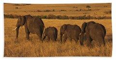 Elephant Family - Sunset Stroll Hand Towel