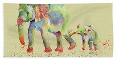 Elephant Family Watercolor  Bath Towel
